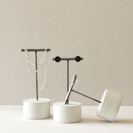 Concrete Cylinder Brushed Black T-Bar Earring Stand