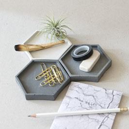 Concrete Hexagon Trinket Dish Set of 3