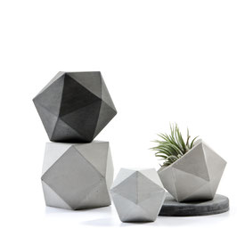 Concrete Icosahedron and Cuboctahedron Modular Sculpture Set of Two