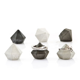 Set of Six Mini Concrete Diamonds, ring holder