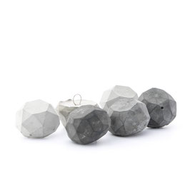 Concrete Polygon Faceted Ornament Set