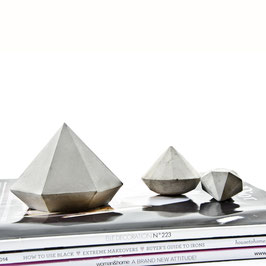 Wide Concrete Diamond Sculpture Solids, Single or Sculpture Set of 3