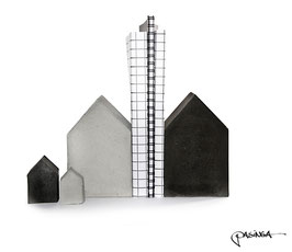 Set of 4 Quirky Concrete Houses