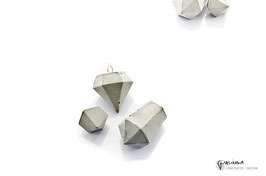 Concrete Diamond and Crystal Ornaments Set of 3