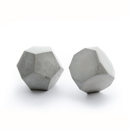 Geometric Concrete, dodecahedron and truncated hexahedron sculpture set of 2
