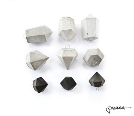 Concrete Diamond and Crystal Pendant Set of 9
