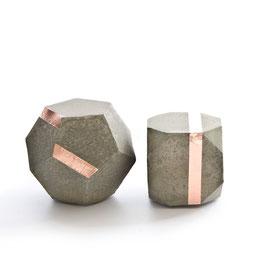Sandy Concrete Copper Modular Sculpture Set