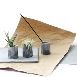 Grey Marble Concrete Cylinder, Air Plant Holder