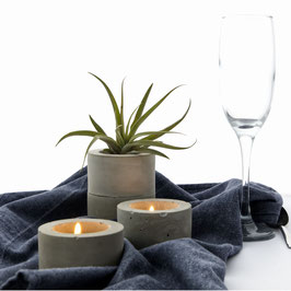 Bold Concrete Cylinder Air Plant or Tea Light Candle Holder, Wedding Ring Dish