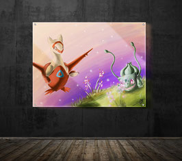 Latias and Bulbasaur - version sous plexiglass