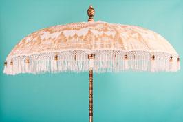 SETPRIJS voor een Luxe editie  Bali parasol 180 of 250 cm ( gouden beschildering gehele doek) + leuke parasolvoet + opberghoes (katoen)