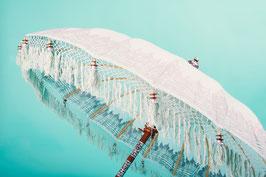 Luxe editie Bali parasol, breedte 180 cm of 250 cm, kleur mintblauw met zilveren beschildering en fringe