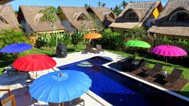 Luxe editie Bali parasol, breedte 180 cm of 250 cm, kleur oranje