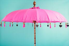 SETPRIJS voor Luxe editie  Bali parasol (zonder beschildering) + leuke parasolvoet + opberghoes (katoen)