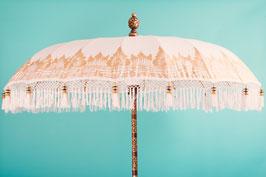 SETPRIJS voor een Luxe editie Bali parasol 180 of 250 cm (met halve gouden beschildering) + leuke parasolvoet + opberghoes (katoen)