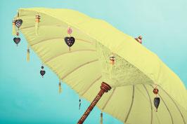 Luxe editie Bali parasol, breedte 180 cm of 250 cm, kleur geel/groen