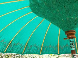 Luxe editie Bali parasol, breedte 180 cm of 250 cm, kleur turquise groen met zilveren beschildering