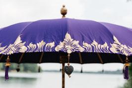 Luxe editie Bali parasol, breedte 250 cm, paars, gouden beschildering (halve doek)