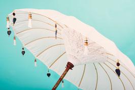 Luxe editie Bali parasol, breedte 180 cm of 250 cm, kleur wit