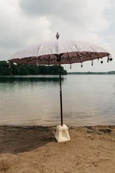 Luxe editie Bali parasol, breedte 180 cm of 250 cm, kleur grijs (grijs/lila) met mooie zilveren beschildering