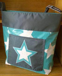 Wachstuch Tasche Modell Moni Sterne azur/anthrazit