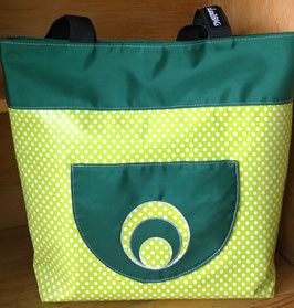 Wachstuchtasche / Shopper Gina gepunktet hellgün/dunkelgrün