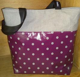 Wachstuchtasche / Shopper Gina gepunktet Plum-grey/Latte