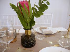 Vase grau gemustert Goldrand