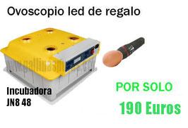 INCUBADORA MODELO JN8-48 48 HUEVOS CAPACIDAD + VISOR DE HUEVOS  REF:INC-022