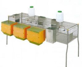 Jaula conejos Penta 4-Metal con tres nidos SUELO PLASTICOREF: CON-J1_PVC