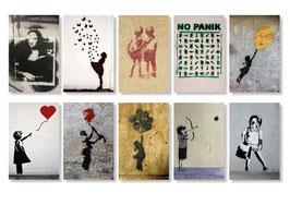 10er Streetart  Postkarten Set  Motive hoch