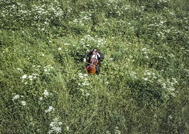 Postkarte: Cello im Grünen