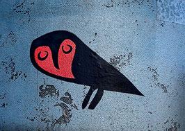 Postkarte: Die Eule mit den roten Augen