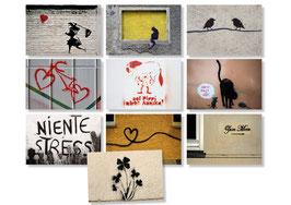 10er Streetart  Postkarten Set  Motive quer