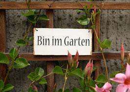 Postkarte: Bin im Garten