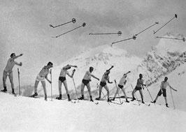 Postkarte: Skistockweitwerfen