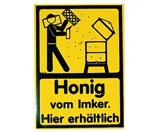 """Aufkleber eckig """"Honig vom Imker: Hier erhältlich"""""""