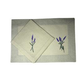"Platzset & Stoffserviette Doppelpack (je 1 Stück) ""Lavender"""