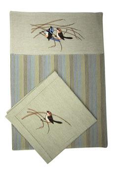 "Platzset & Stoffserviette Doppelpack (je 1 Stück) ""Blue Wren"" Classic"
