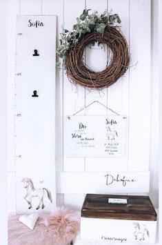 Aktions - Set mit Geburtschild aus Holz und persönlichem Spruch