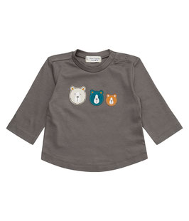 CHESMU BABY SHIRT DARK GREY BÄREN APPLIKATION 62/68