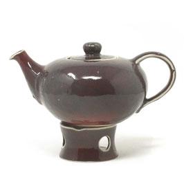 Teekanne mit Stövchen, Farbe: Rotbraun