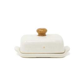 Butterdose, Farbe: Weiß mit braunem Knopf
