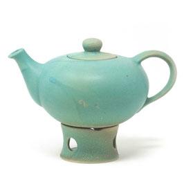 Teekanne mit Stövchen, Farbe: Türkis