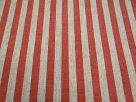 Tischdecke Baumwolle Leinenoptik rot-natur gestreift