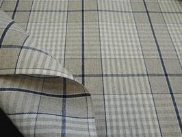 Tischdecke Baumwolle Leinenoptik kariert blau