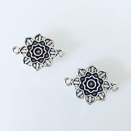 Verbinder Mandala Blume Silber Neu!