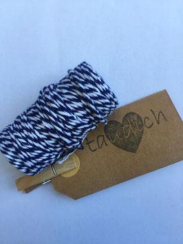 Zweifarbiges Baumwollseil Dark Blue-White