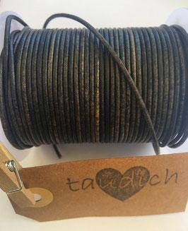 Rundleder 2mm Vintage Black
