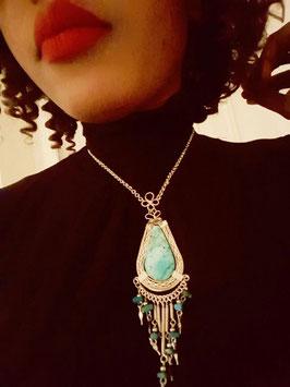Alpaka Halskette mit Steinen